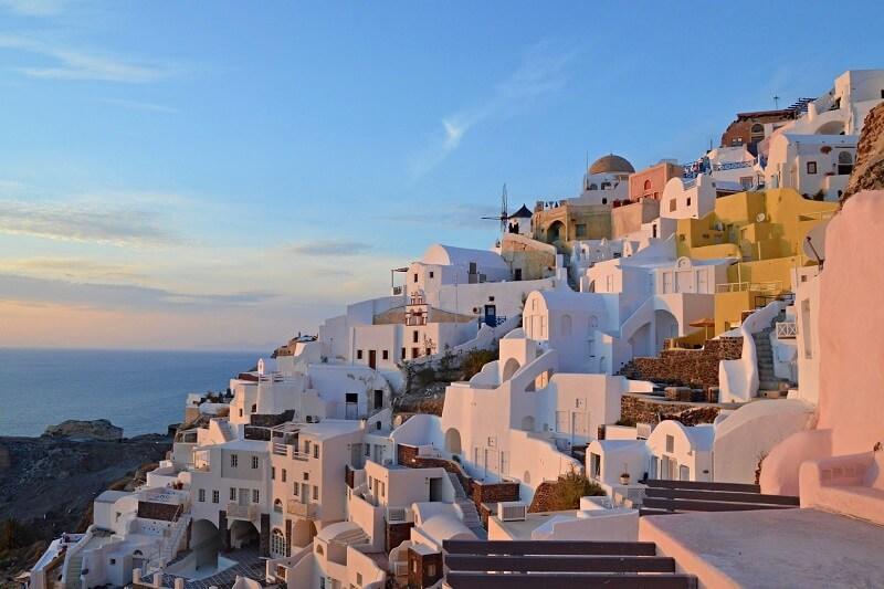 Fim de dia em Santorini