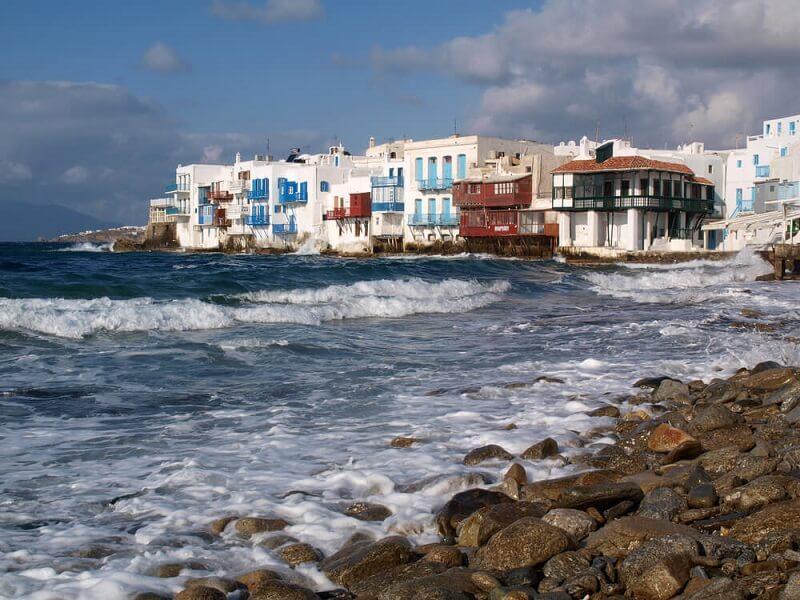 Baixa temporada em Mykonos - Mar e centro turístico