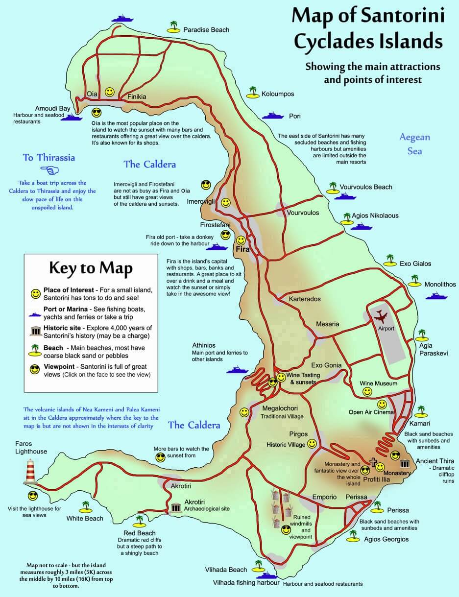 Mapa turístico de Santorini